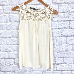 Zara Basic Lace Ivory Tank Blouse
